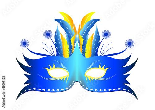 Masque plume Rio - Bleu - Carnaval