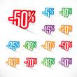 Etiquettes prix discount -5% à -90%