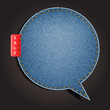 Jeans texture background on retro style speech bubbles