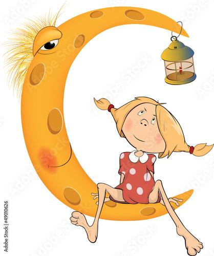 The girl and the moon cartoon
