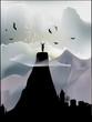 man on mountain summit illustration