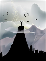 man on mountain summit illustration