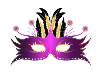 Masque plume Rio - Violetet or - Carnaval