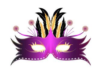 Masque plume Rio - Violetet or - Carnaval