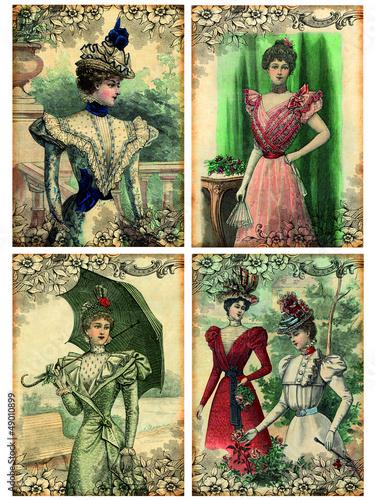4 cartes postales rétro