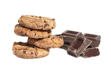 Cookies and chocolate pieces, isolated on white background