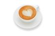 latte art heart shape ,isolate on white