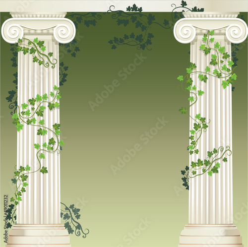 Two Ionic columns entwined with ivy
