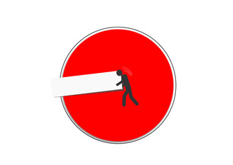 Einfahrt verboten - Mann schiebt Balken aus dem Schild