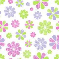 Vector illustration of seamless pattern with flowers