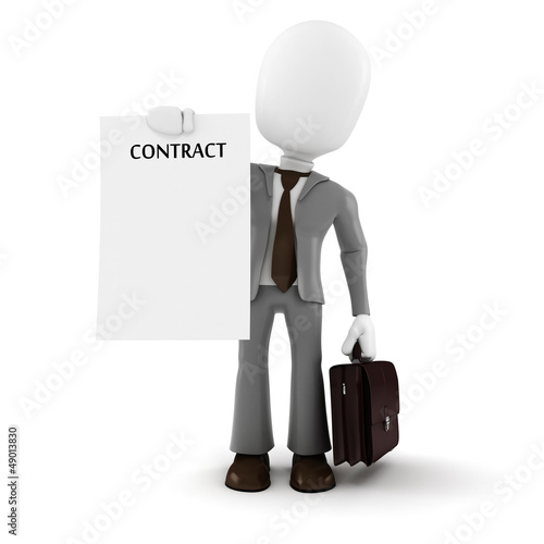 3d man businessman  holding a new contract paper