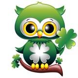 Baby Owl St Patrick Cartoon Gufo Cucciolo con Quadrifoglio