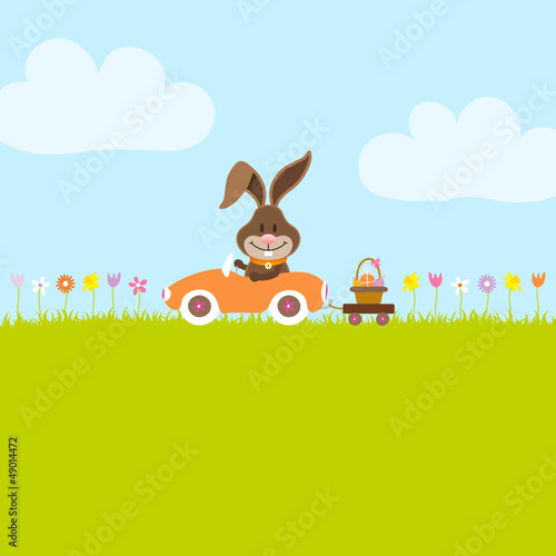 Bunny In Meadow Driving Car Easter Basket