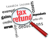 Searching for a Tax Refund - Magnifying Glass
