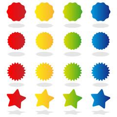 Stickers étoiles (4 couleurs)