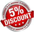 "Button Banner ""5% Discount"" rot/silber"