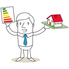 Geschäftsmann, Energieeffizienzklassen, Hausbau
