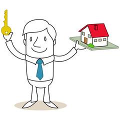 Geschäftsmann, Eigenheim, Hausbau, Haus, Schlüssel