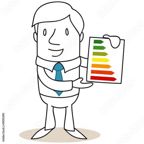 Geschäftsmann, Energieeffizienzklassen, Energiebedarf