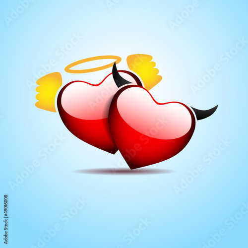 Illustration of pair of valentine heart - Angel loves Devil