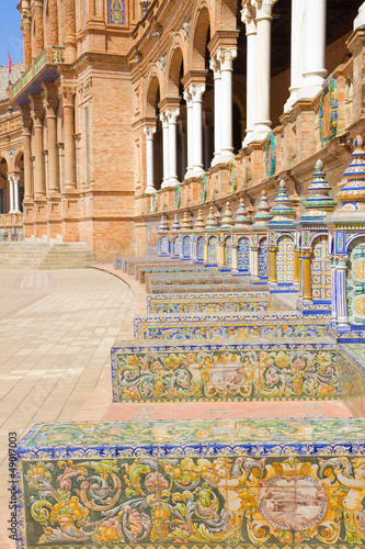 benches of  Plaza de Espana, Sevilla, Spain