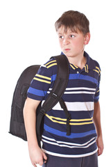 disgruntled student with a school backpack