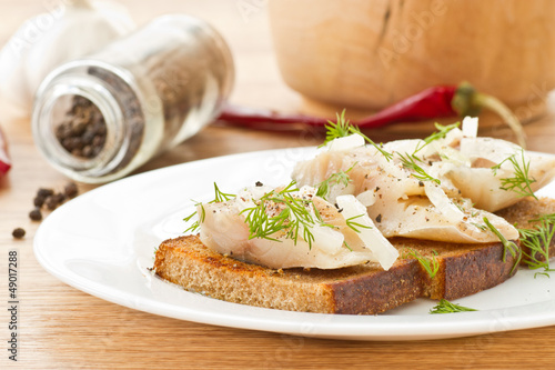 salted mackerel with grilled toast