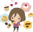 ドーナツを食べる女性と洋菓子のイメージ