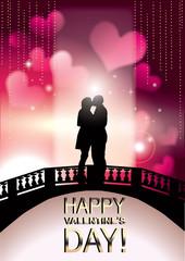 Romantic Valentine couple kissing on a bridge