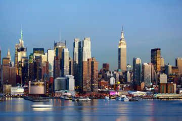 Manhattan Midtown skyline at dusk, New York City
