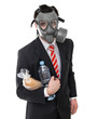 Survival concept, business man with gas mask isolated on white