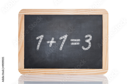 Leinwandbild Motiv Schultafel: 1+1=3