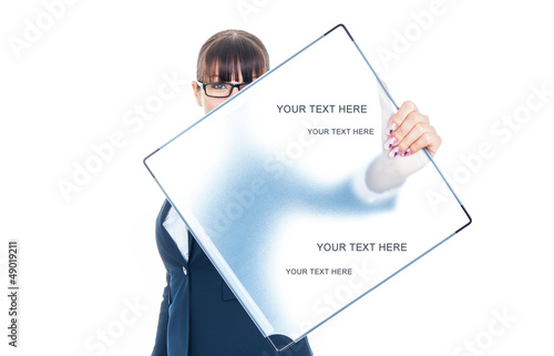 Attractive young business woman showing blank signboard