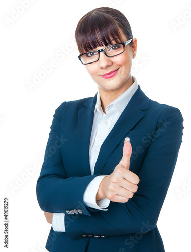 Happy smile businesswoman showing like sign, thumbs up