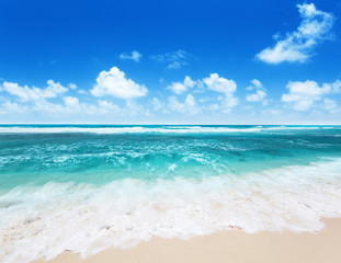perfect beach on La Digue island, Seychelles
