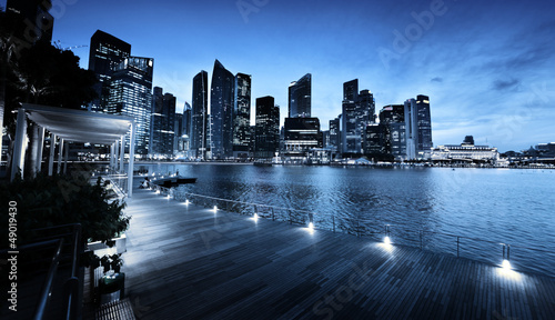 Foto op Canvas Singapore Singapore city in sunset time