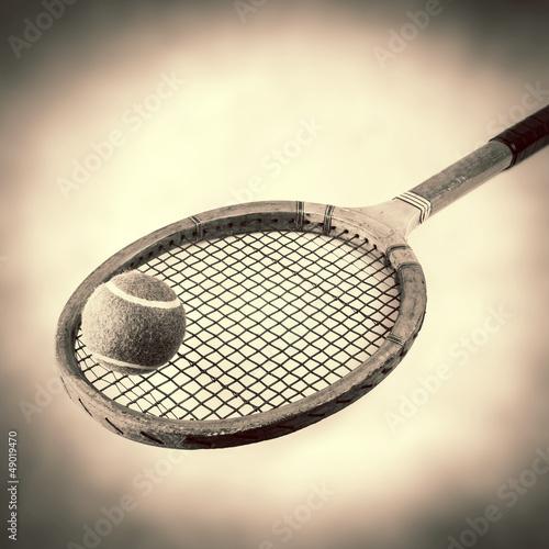 sepia wooden tennis racquet