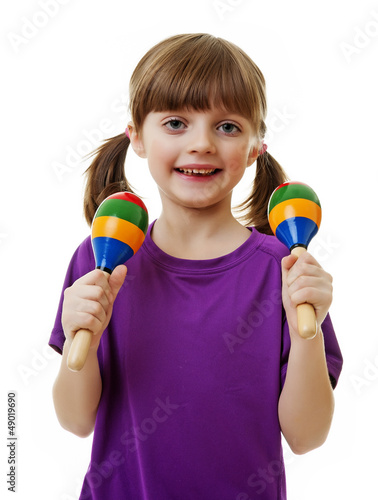 little girl playing music - white background