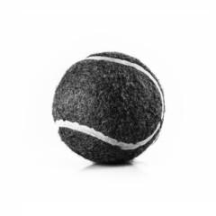 black and white tennis ball