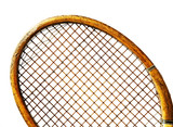 close up old tennis racket