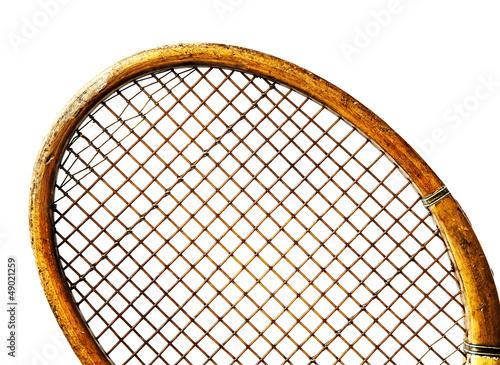 close up old tennis racket