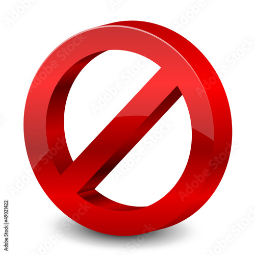 Vector illustration of 3d forbidden sign