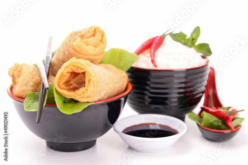isolated spring roll and rice