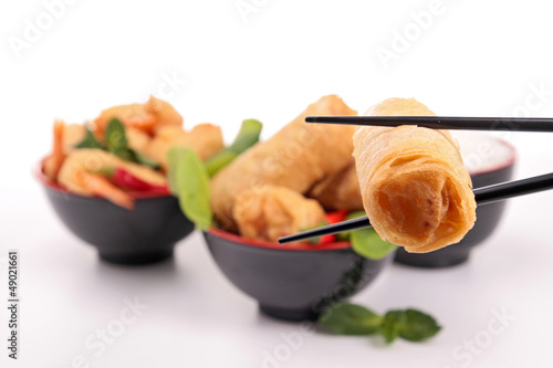 asia food, spring roll and shrimp fritter