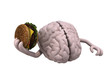 human brain with arms and a hamburger