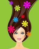 Fototapeta różowy - dziewczynka - Salon fryzjerski