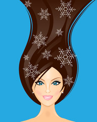 Vector illustration of winter woman