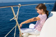 child happy girl sailing happy  boat