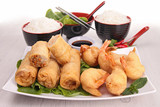 chinese food, spring roll and rice