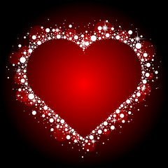 Vector red frame with shiny heart